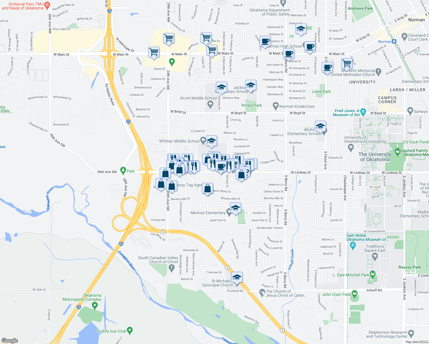 map of restaurants, bars, coffee shops, grocery stores, and more near 1820 West Lindsey Street in Norman