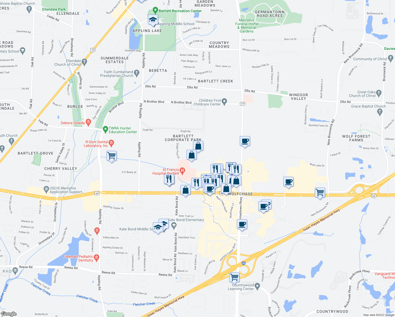 map of restaurants, bars, coffee shops, grocery stores, and more near in Memphis