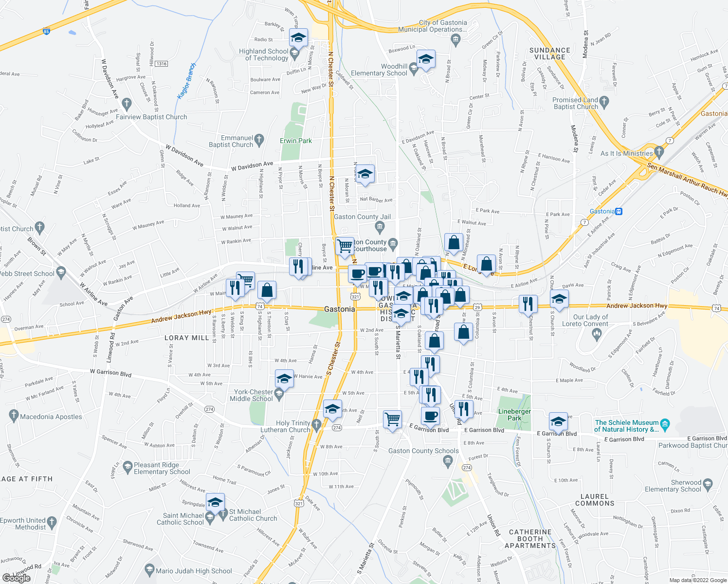 map of restaurants, bars, coffee shops, grocery stores, and more near 257 West Main Avenue in Gastonia