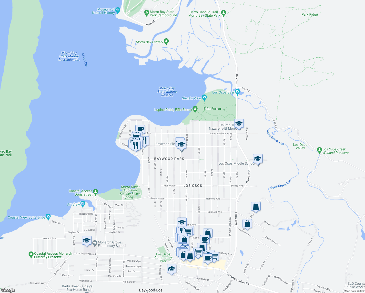 map of restaurants, bars, coffee shops, grocery stores, and more near 1010 Santa Maria Ave in Baywood-Los Osos