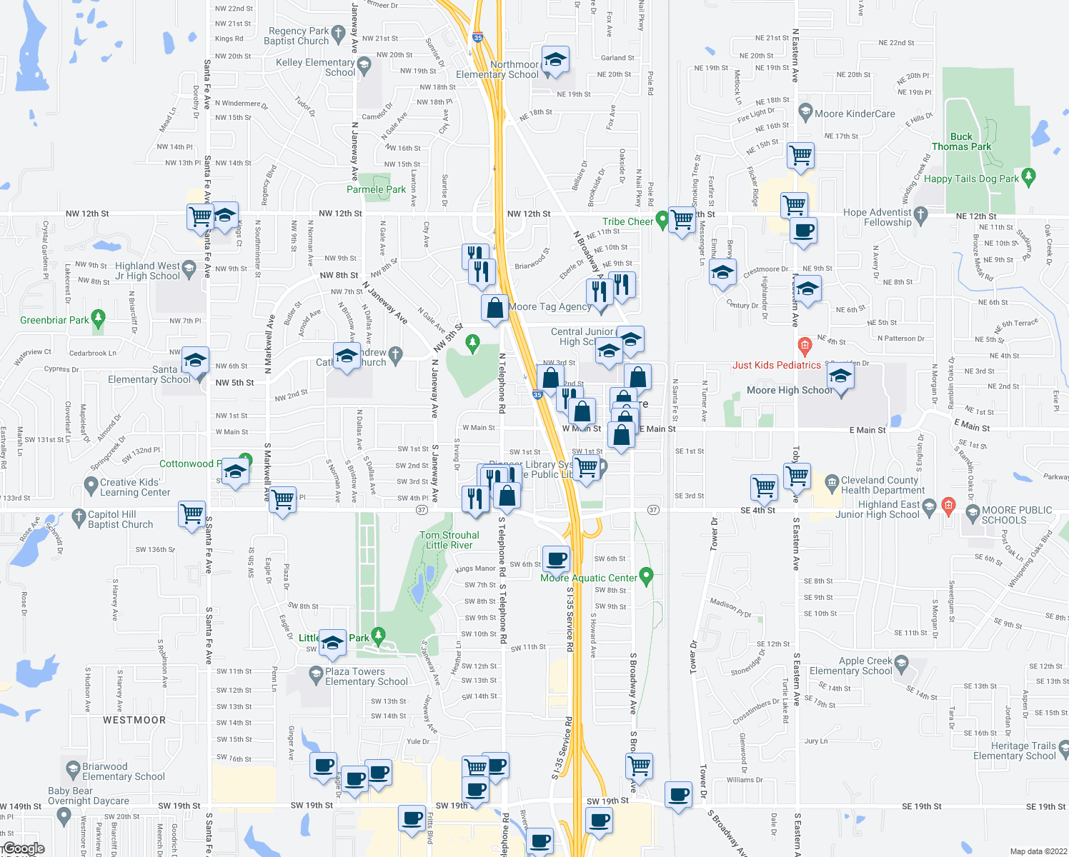 map of restaurants, bars, coffee shops, grocery stores, and more near 500 West Main Street in Oklahoma City