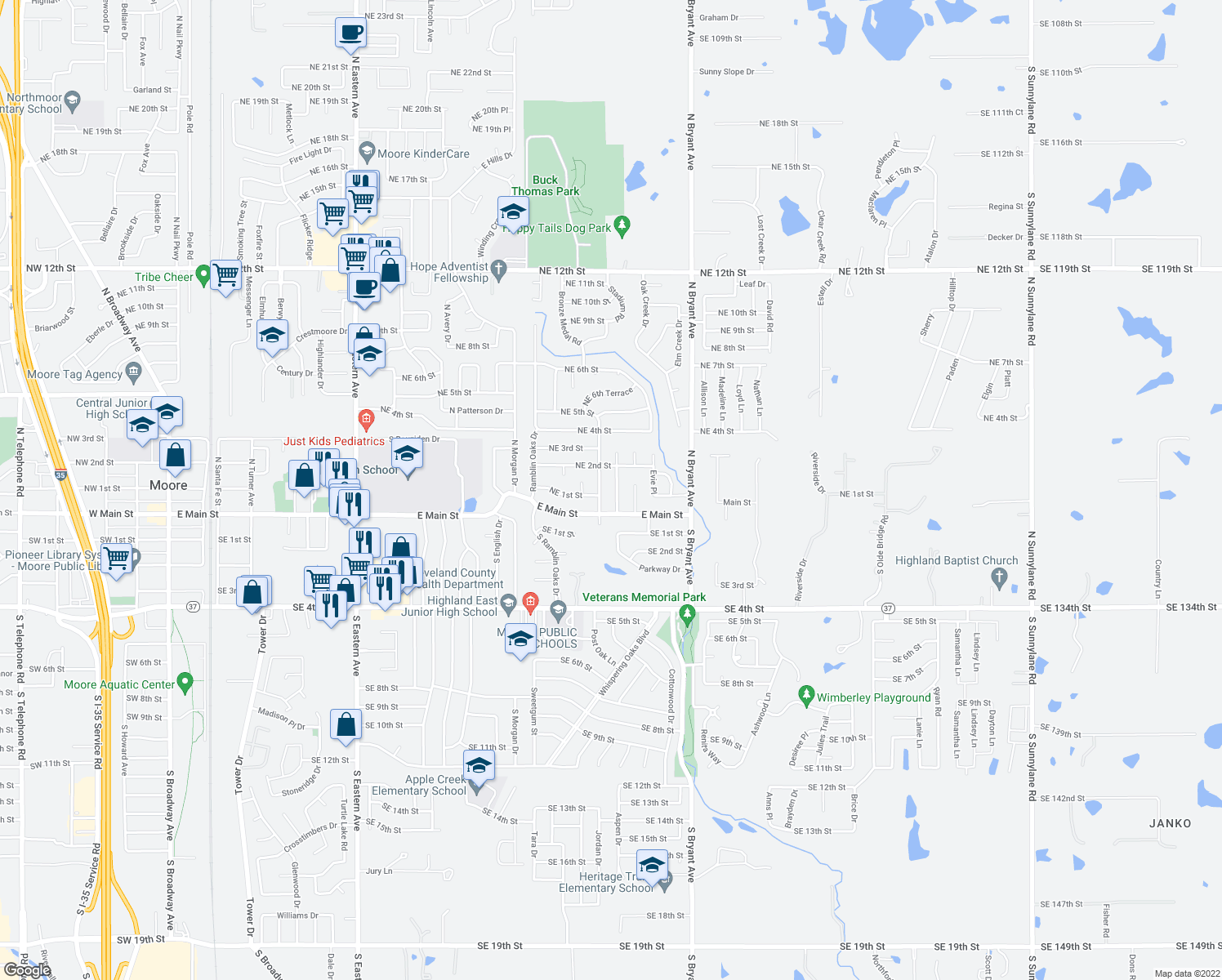 map of restaurants, bars, coffee shops, grocery stores, and more near 201 Wellington Lane in Moore
