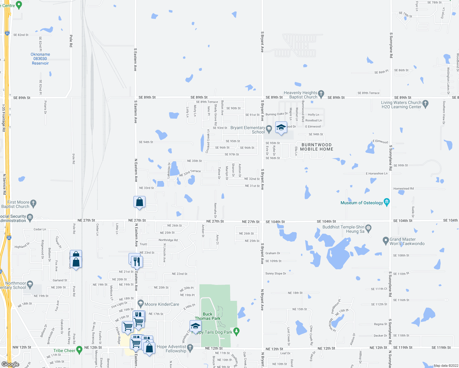 map of restaurants, bars, coffee shops, grocery stores, and more near 1716 Northeast 31st Street in Moore
