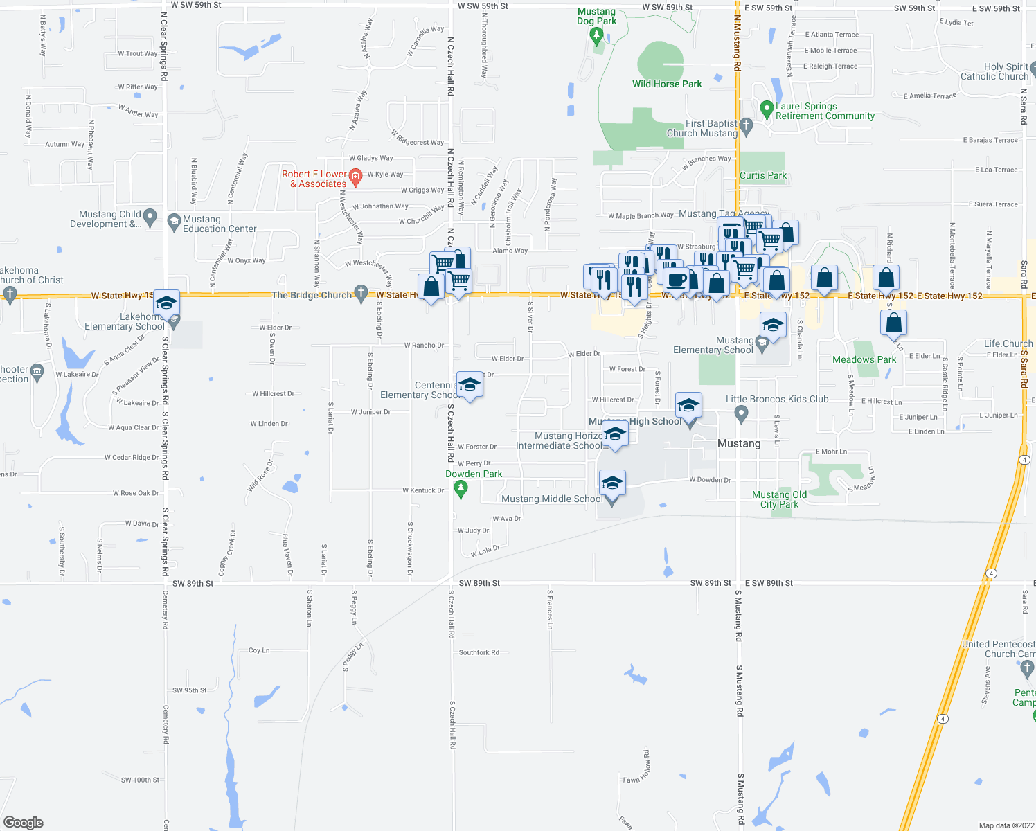 map of restaurants, bars, coffee shops, grocery stores, and more near 733 West Linden Drive in Mustang