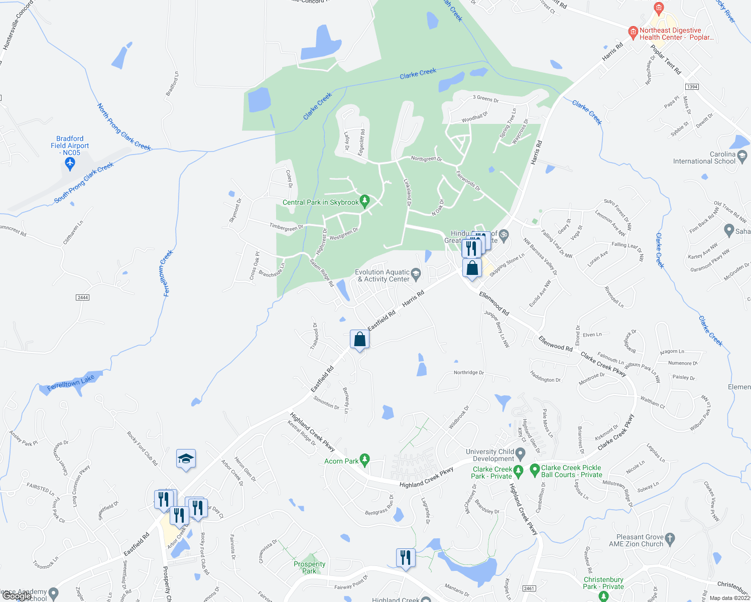 map of restaurants, bars, coffee shops, grocery stores, and more near 9816 Skybluff Circle in Huntersville