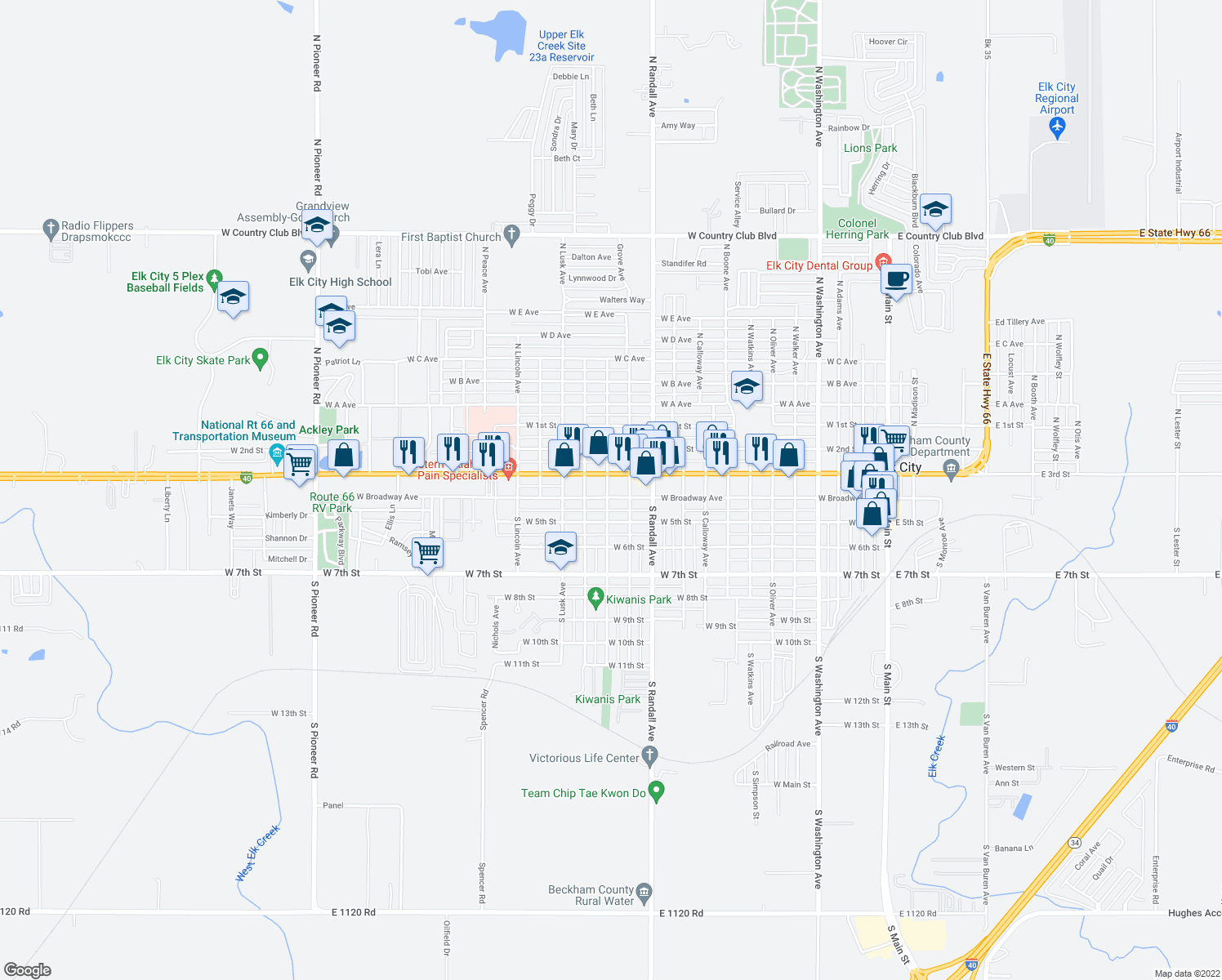 map of restaurants, bars, coffee shops, grocery stores, and more near 1221 West Broadway Avenue in Elk City