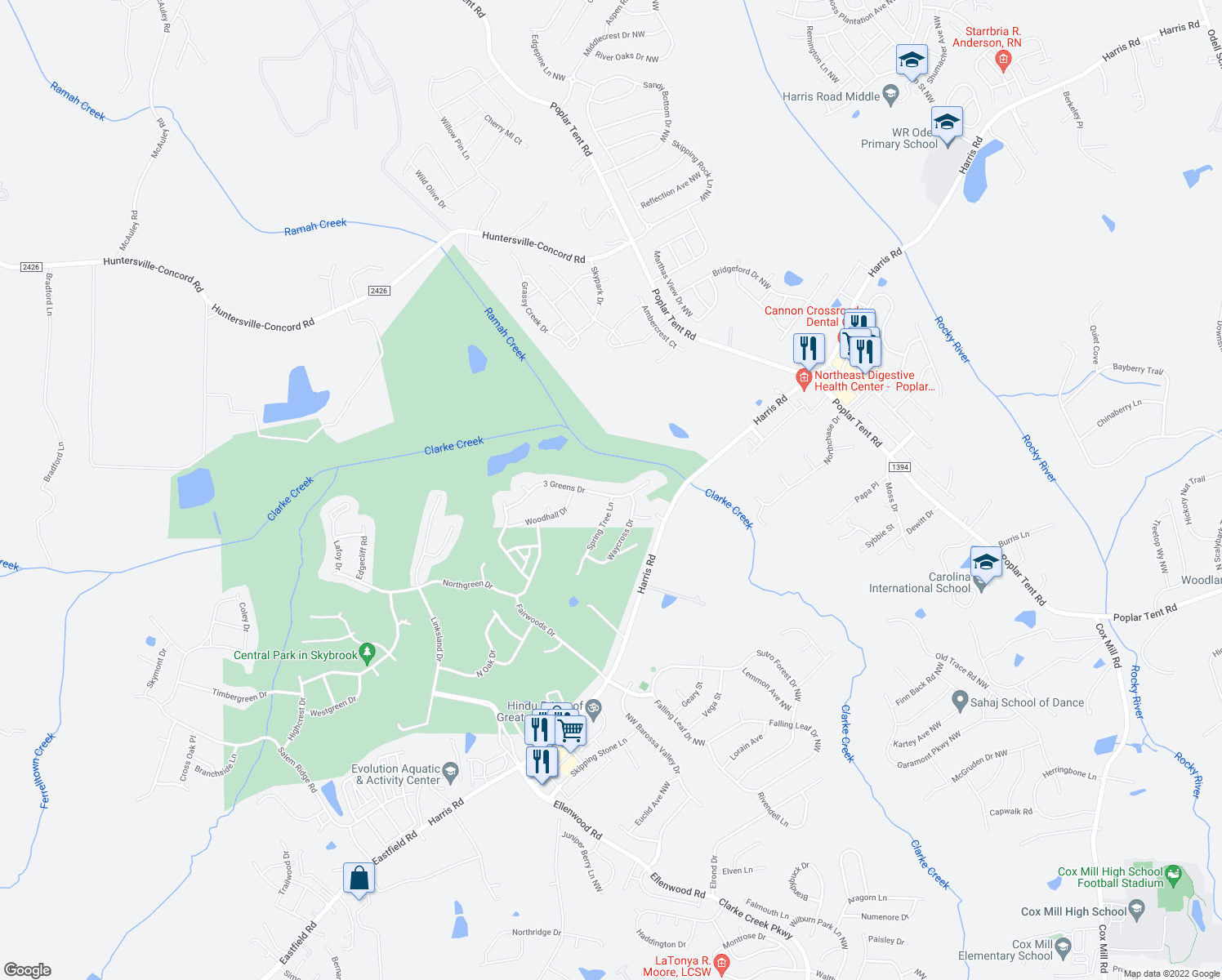 map of restaurants, bars, coffee shops, grocery stores, and more near 302 3 Greens Drive in Huntersville