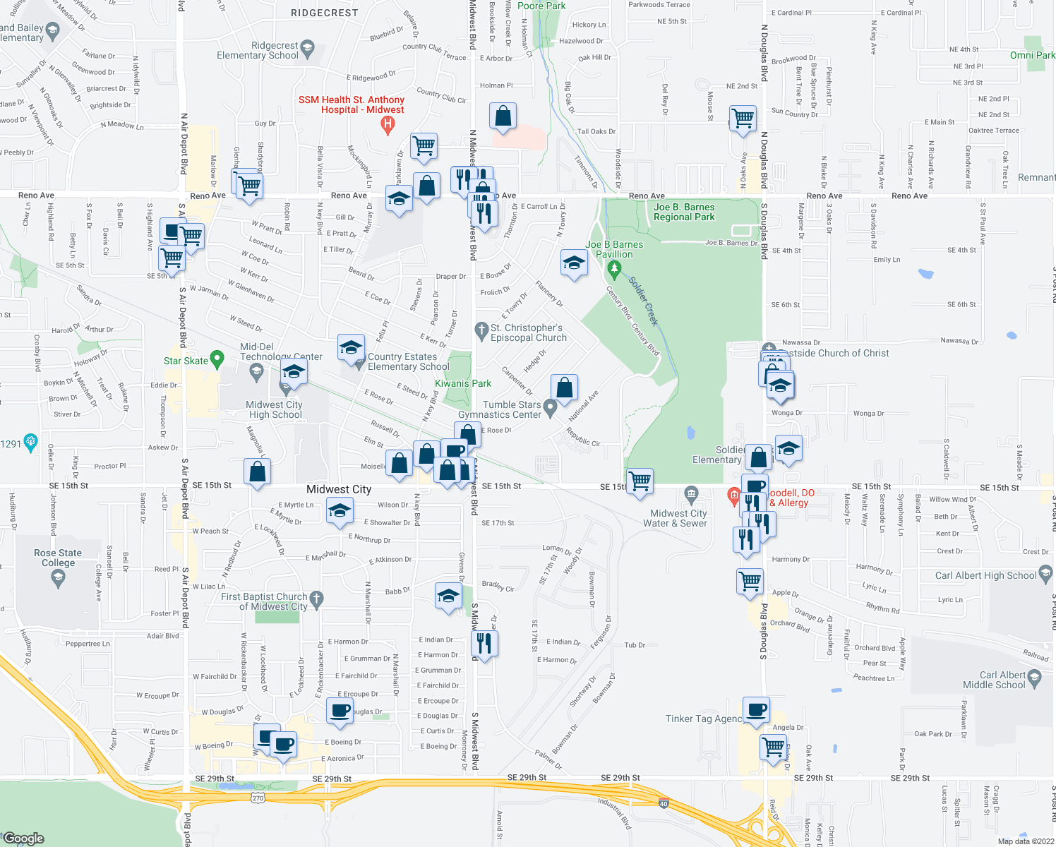 map of restaurants, bars, coffee shops, grocery stores, and more near 748 East Rose Drive in Midwest City