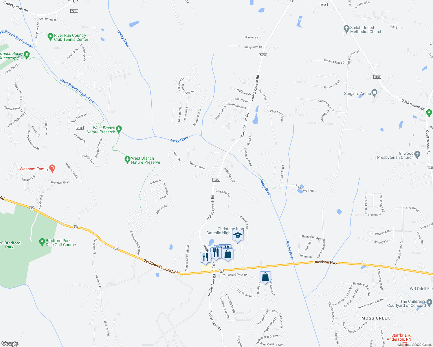 map of restaurants, bars, coffee shops, grocery stores, and more near 2838 Bivins Street in Davidson
