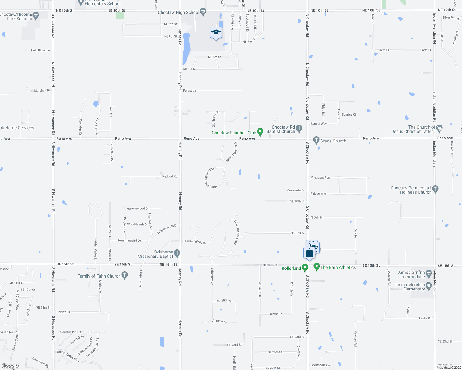 map of restaurants, bars, coffee shops, grocery stores, and more near 570 Misty Morning Drive in Choctaw