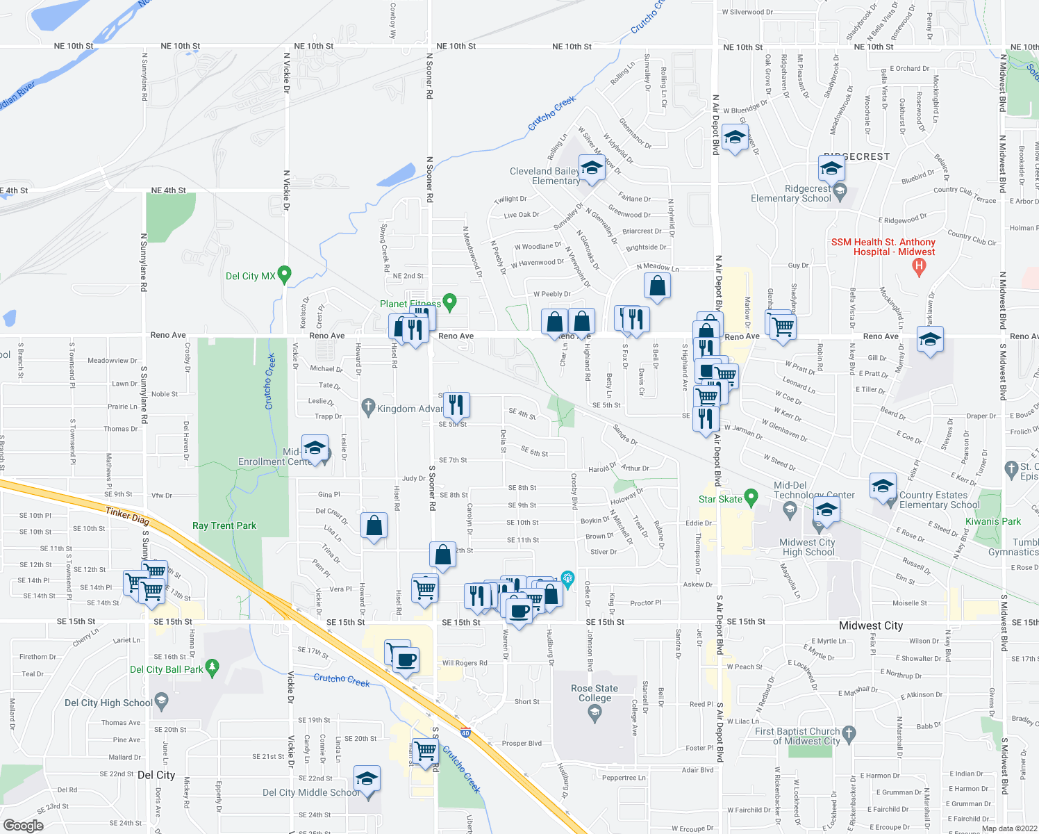 map of restaurants, bars, coffee shops, grocery stores, and more near 6016 Southeast 4th Street in Midwest City
