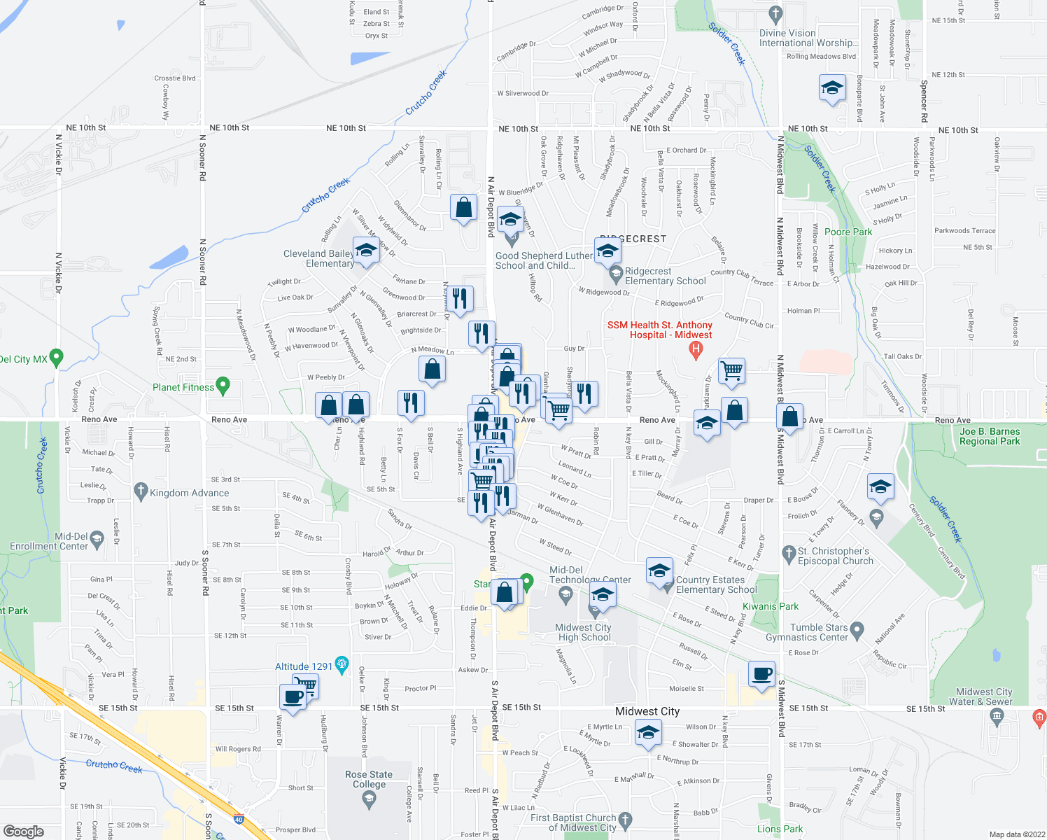 map of restaurants, bars, coffee shops, grocery stores, and more near 7018 East Reno Avenue in Midwest City