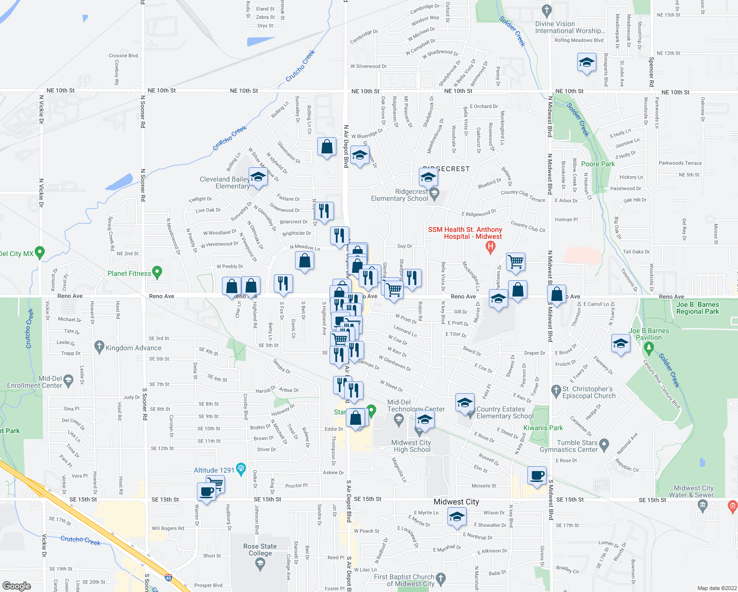 map of restaurants, bars, coffee shops, grocery stores, and more near 7018 E Reno Ave in Oklahoma City