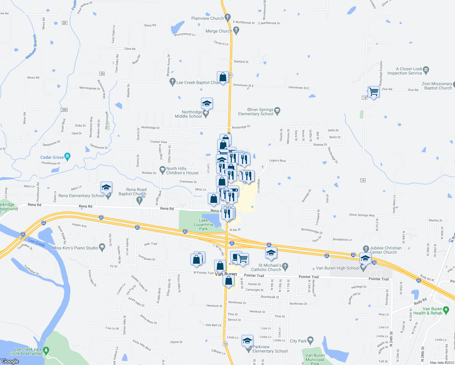 map of restaurants, bars, coffee shops, grocery stores, and more near 2234 Fayetteville Road in Van Buren