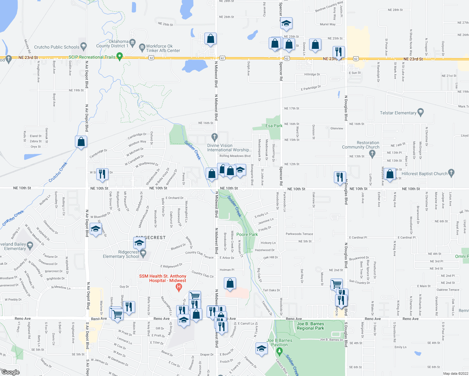 map of restaurants, bars, coffee shops, grocery stores, and more near 900-911 Crabtree Cove in Midwest City
