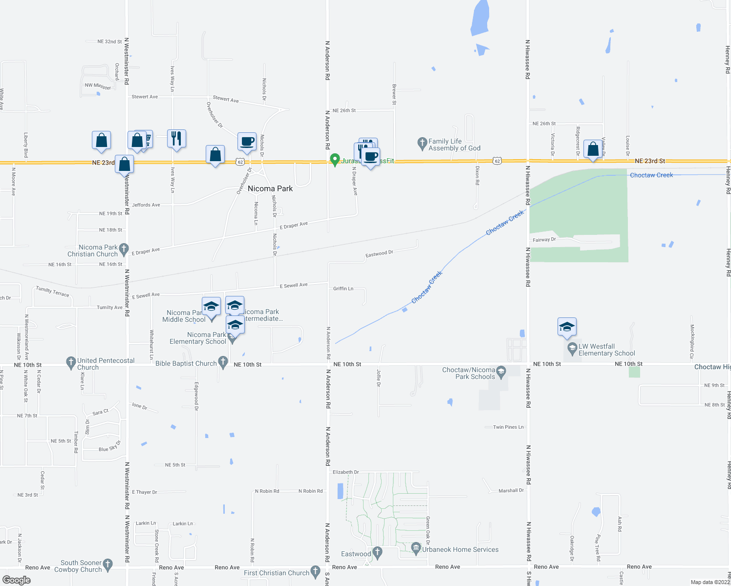 map of restaurants, bars, coffee shops, grocery stores, and more near Griffin