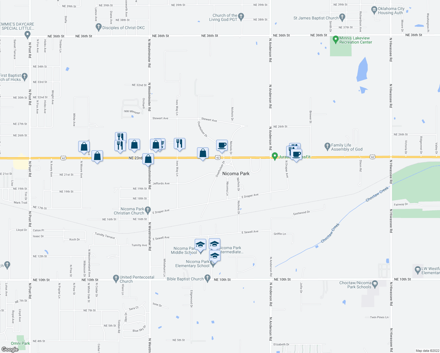 map of restaurants, bars, coffee shops, grocery stores, and more near 2030 Overholser Drive in Choctaw