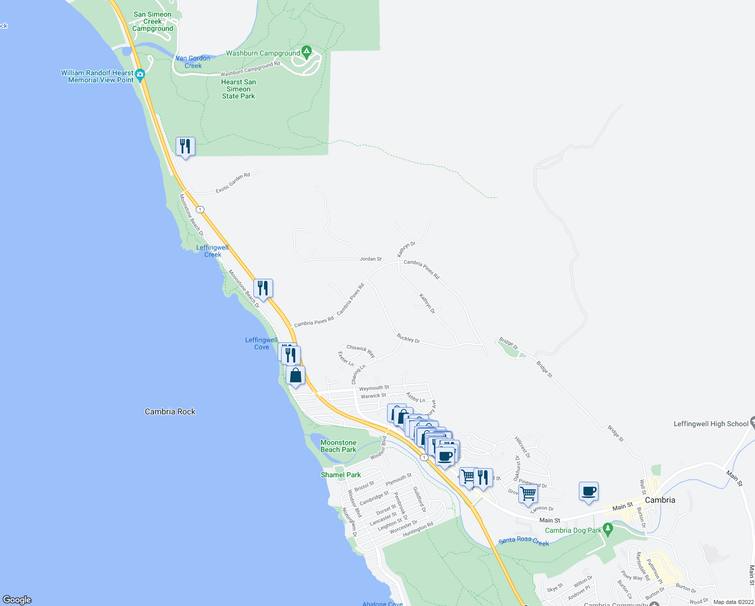map of restaurants, bars, coffee shops, grocery stores, and more near 6600 Buckley Drive in Cambria