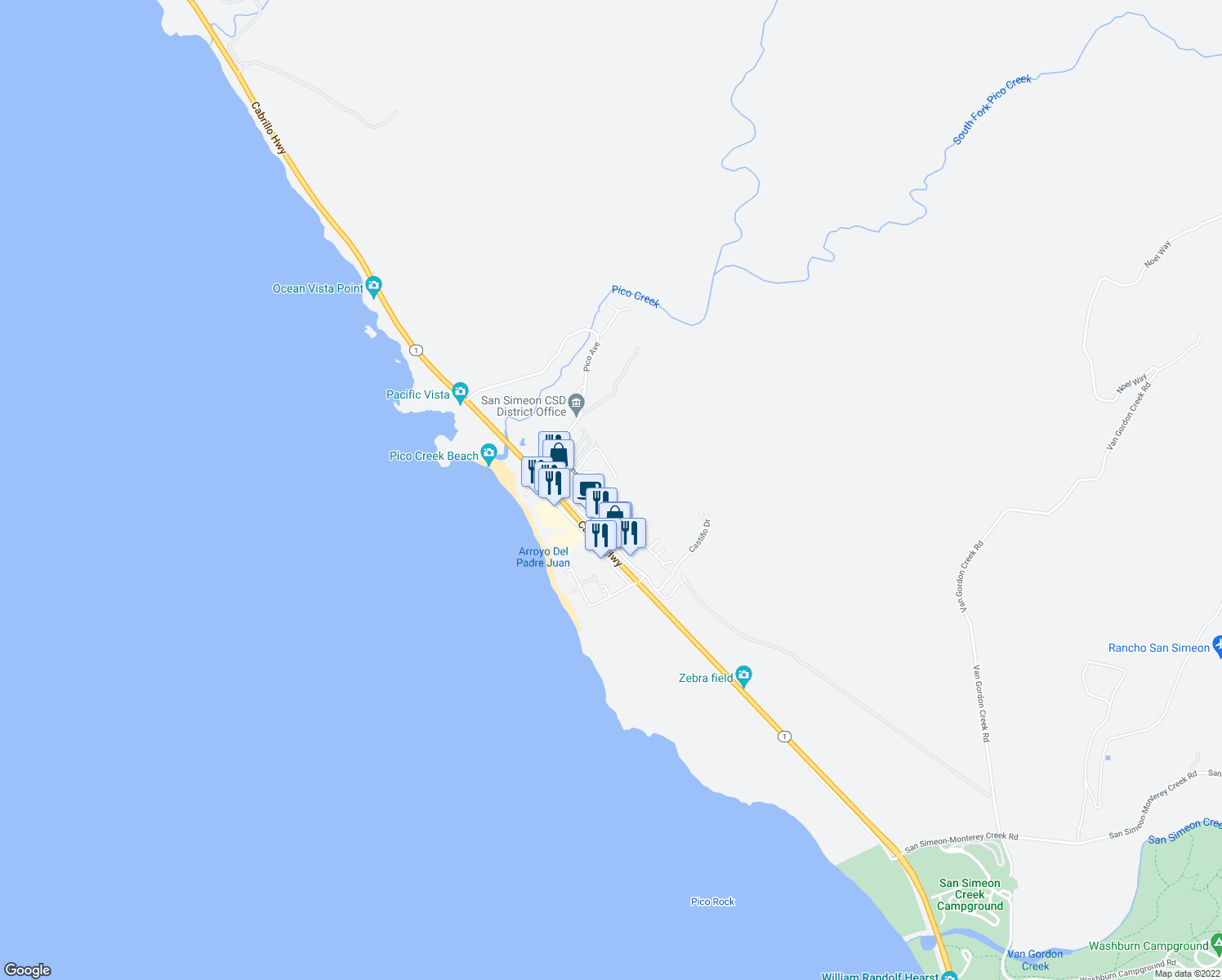 map of restaurants, bars, coffee shops, grocery stores, and more near 525 Casa Del Mar Drive in San Simeon
