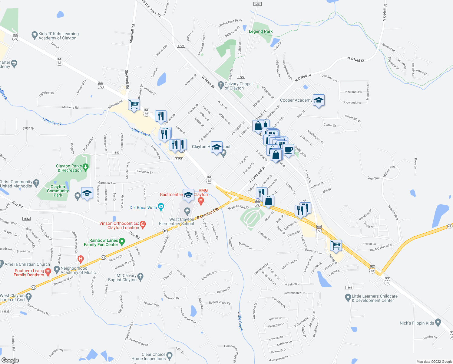 map of restaurants, bars, coffee shops, grocery stores, and more near 611 Page Street in Clayton