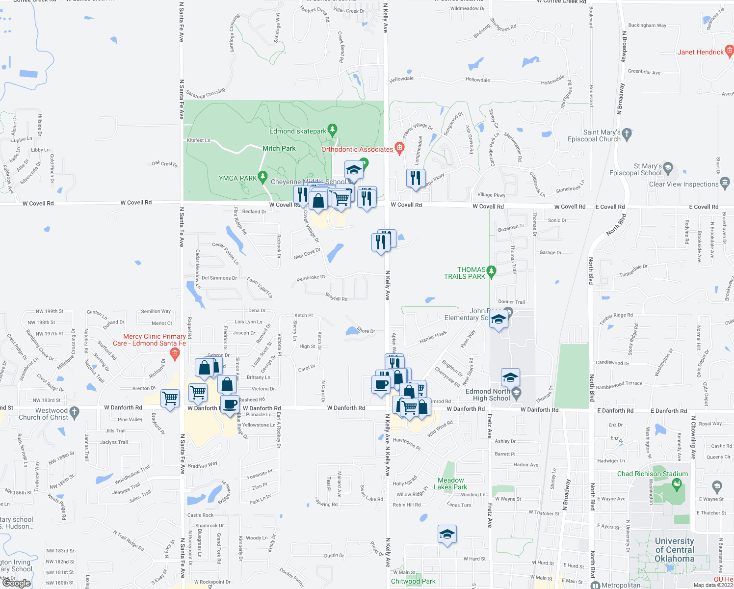 map of restaurants, bars, coffee shops, grocery stores, and more near Kendal Court in Edmond