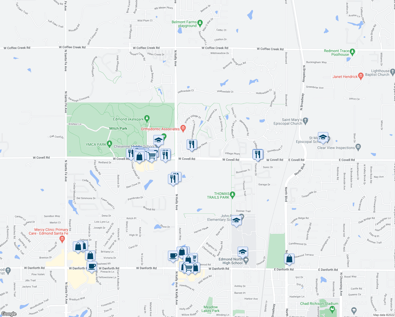 map of restaurants, bars, coffee shops, grocery stores, and more near 517-581 West Covell Road in Edmond