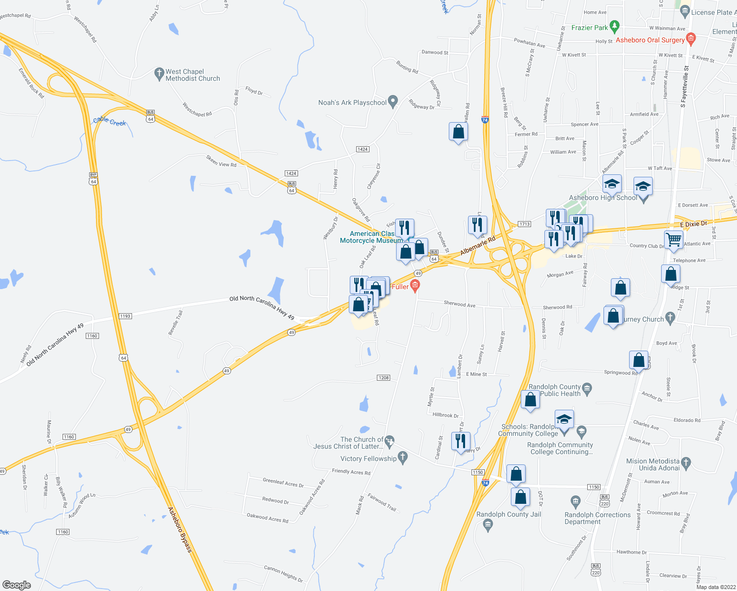 map of restaurants, bars, coffee shops, grocery stores, and more near 357-399 Highway 49 in Asheboro