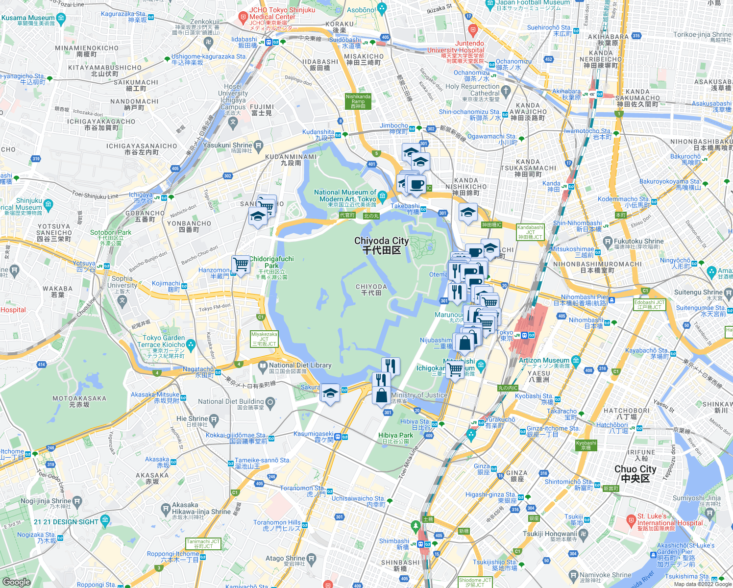 map of restaurants, bars, coffee shops, grocery stores, and more near in Chiyoda