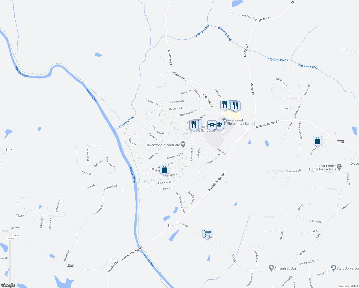 map of restaurants, bars, coffee shops, grocery stores, and more near 208-212 Sarazen Drive in Clayton