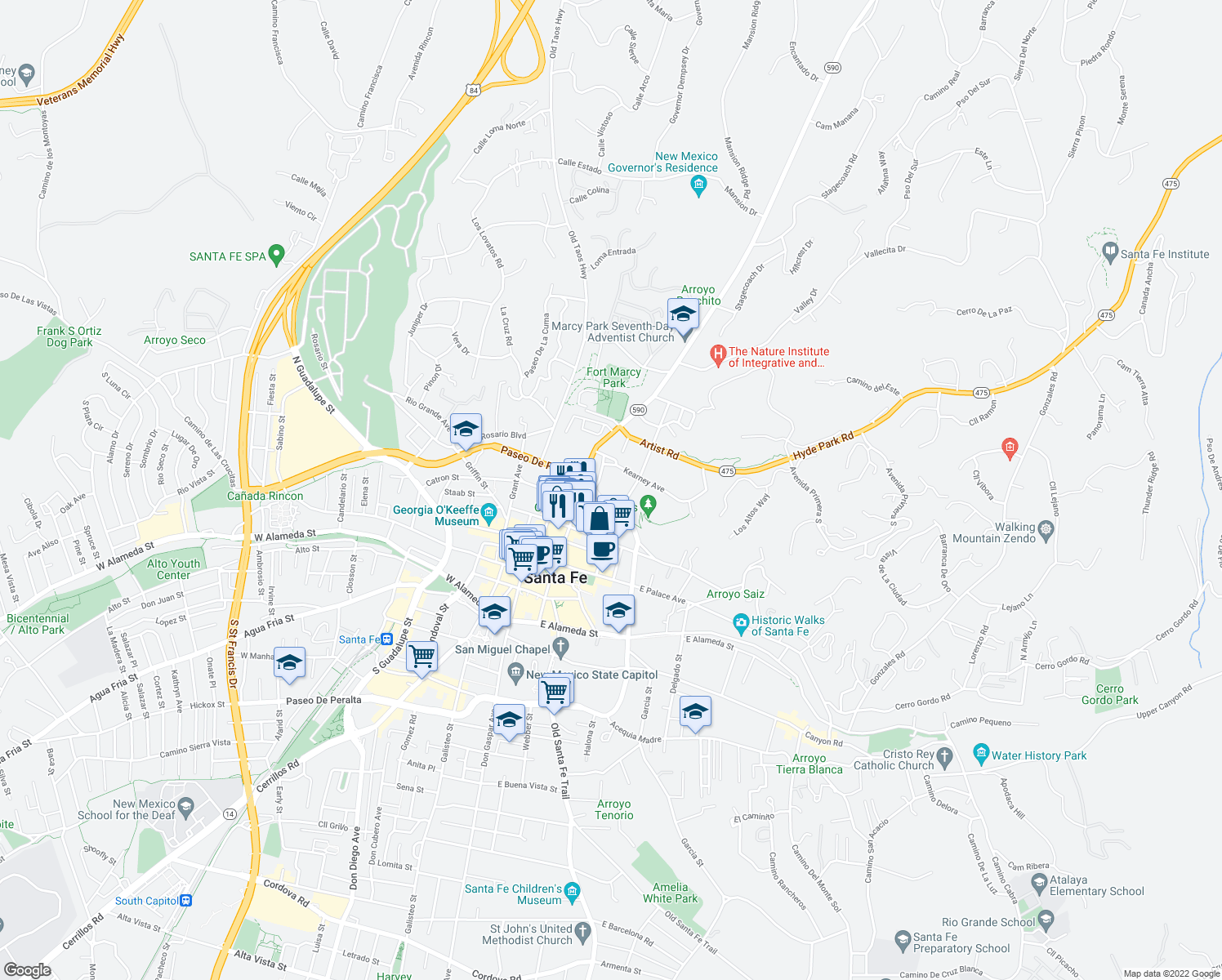 map of restaurants, bars, coffee shops, grocery stores, and more near 334 Otero Street in Santa Fe