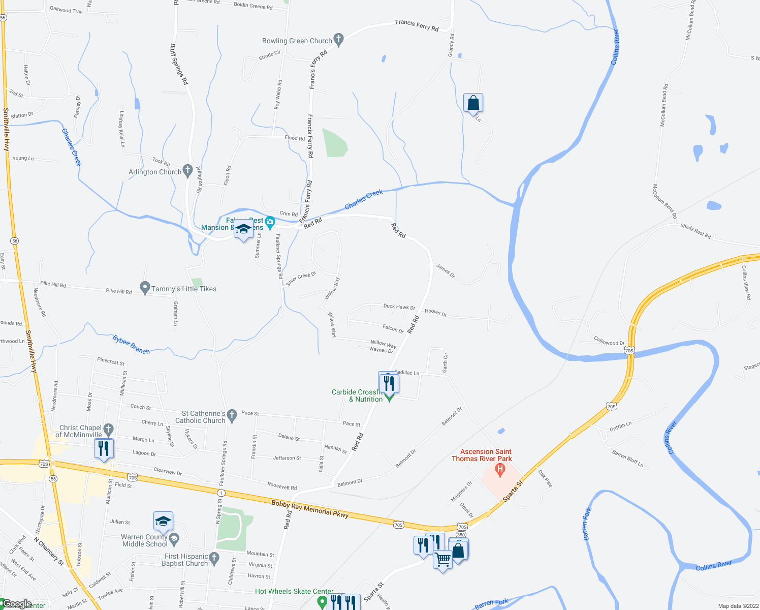 map of restaurants, bars, coffee shops, grocery stores, and more near 197-213 Duck Hawk Drive in McMinnville