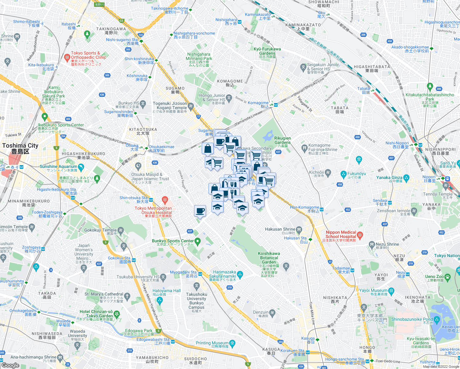 map of restaurants, bars, coffee shops, grocery stores, and more near in Bunkyo City