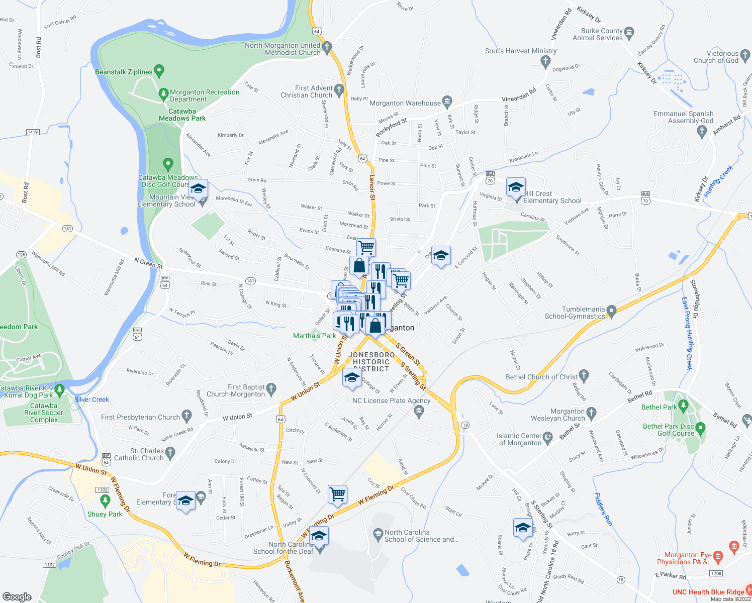 map of restaurants, bars, coffee shops, grocery stores, and more near 230-298 East Union Street in Morganton