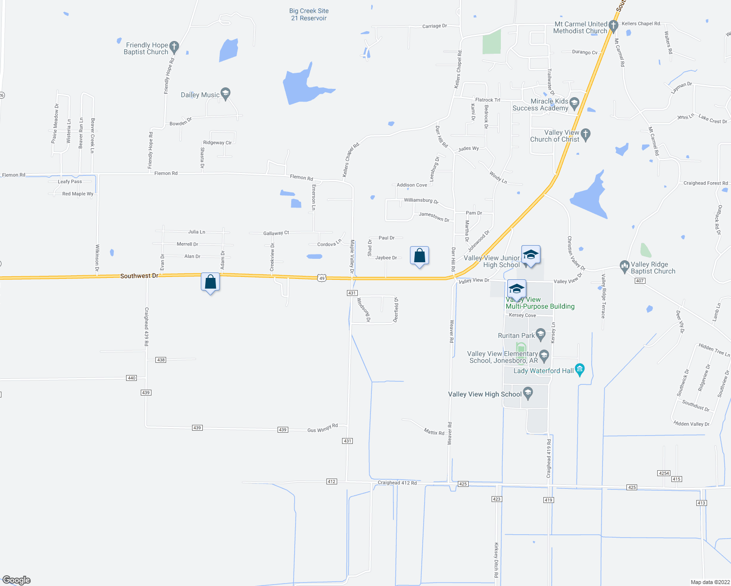 map of restaurants, bars, coffee shops, grocery stores, and more near 5523 Deerfield Drive in Jonesboro