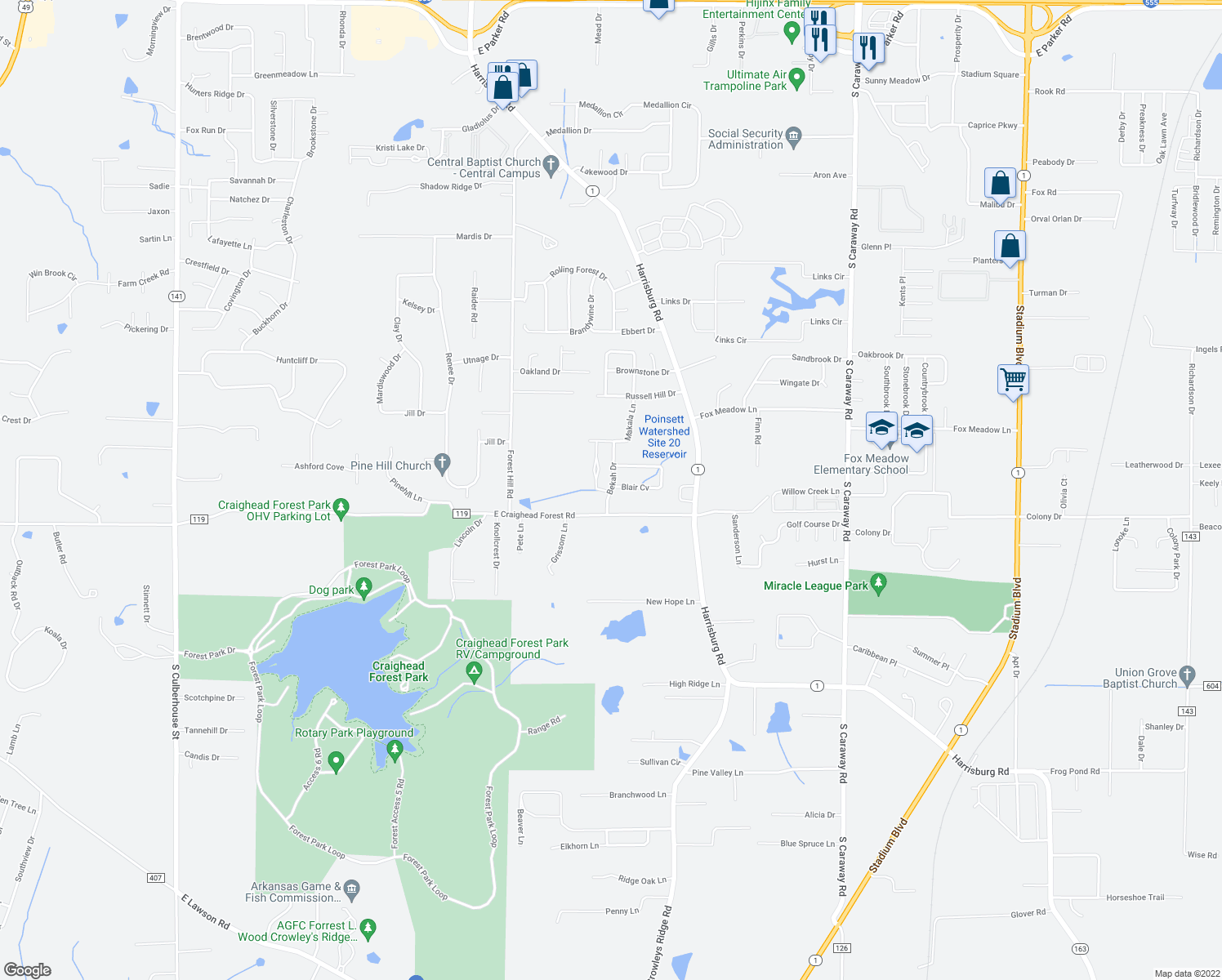 map of restaurants, bars, coffee shops, grocery stores, and more near 4313 Bekah Drive in Jonesboro
