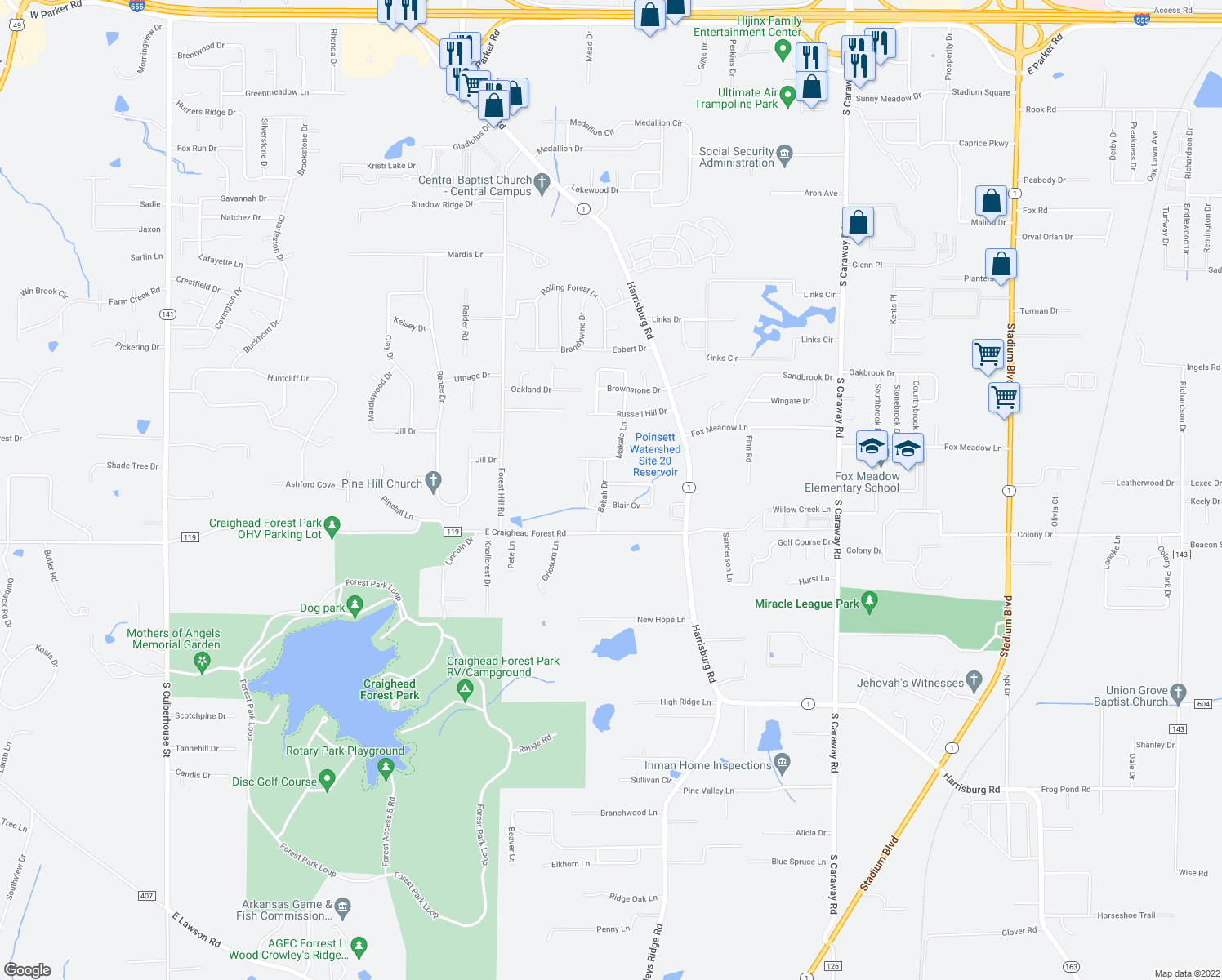 map of restaurants, bars, coffee shops, grocery stores, and more near 4201 Sydney Cove in Jonesboro