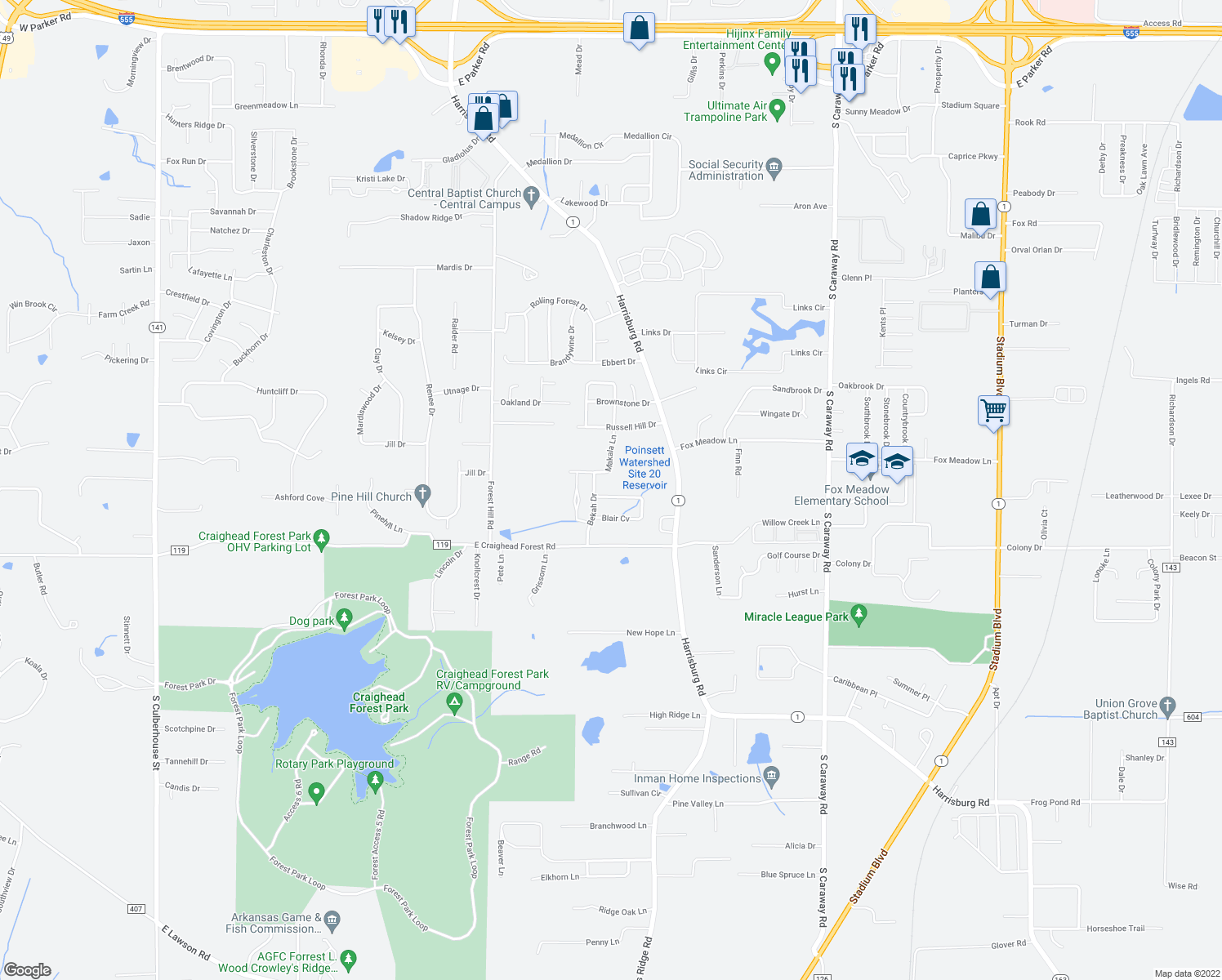 map of restaurants, bars, coffee shops, grocery stores, and more near 4208 Sydney Cove in Jonesboro
