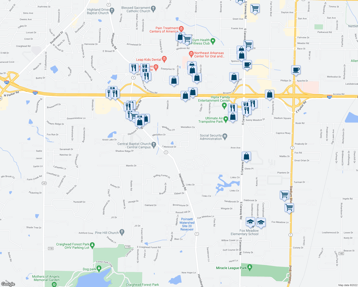 map of restaurants, bars, coffee shops, grocery stores, and more near 3704 Woodduck Cove in Jonesboro