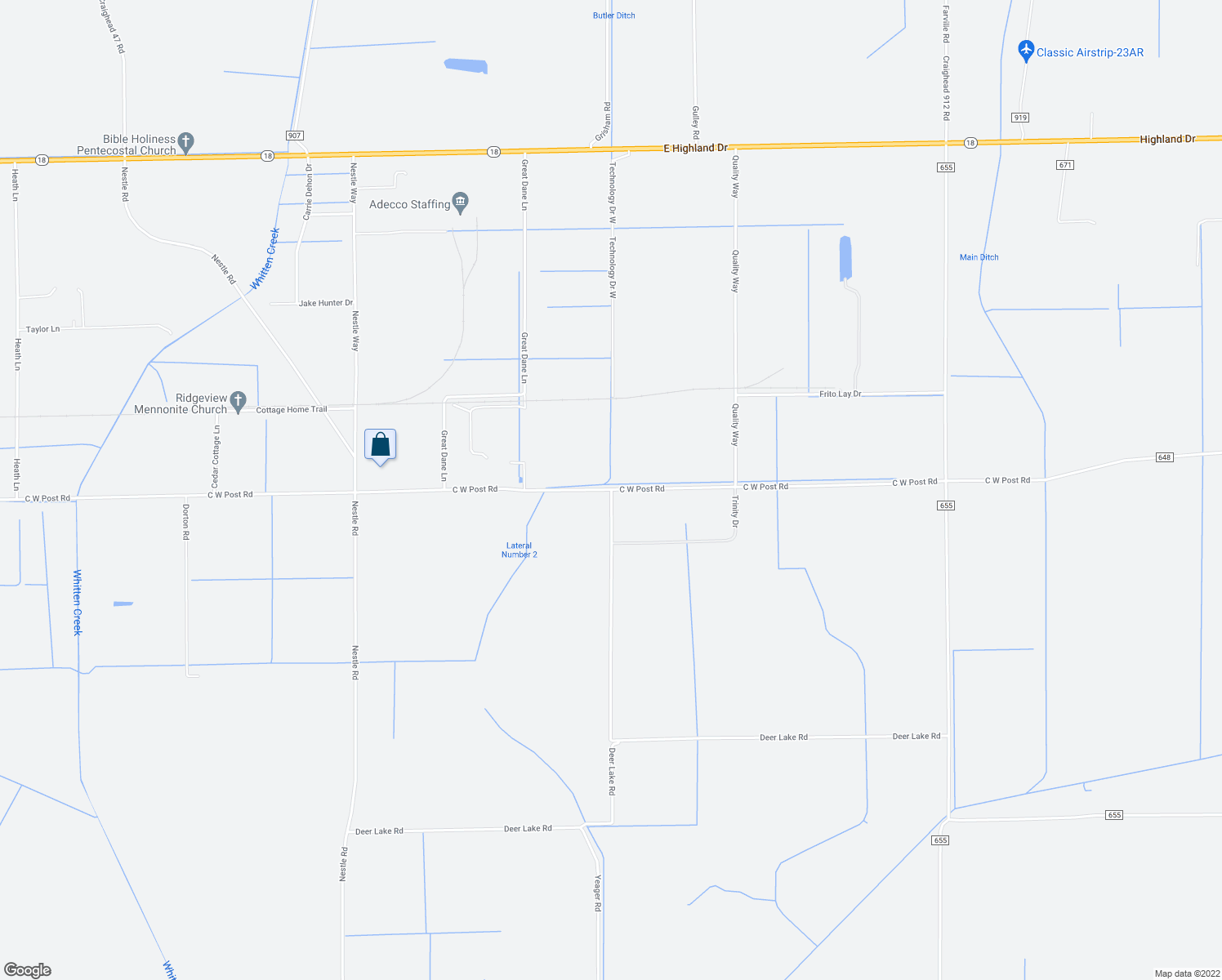map of restaurants, bars, coffee shops, grocery stores, and more near 15117 C W Post Road in Jonesboro