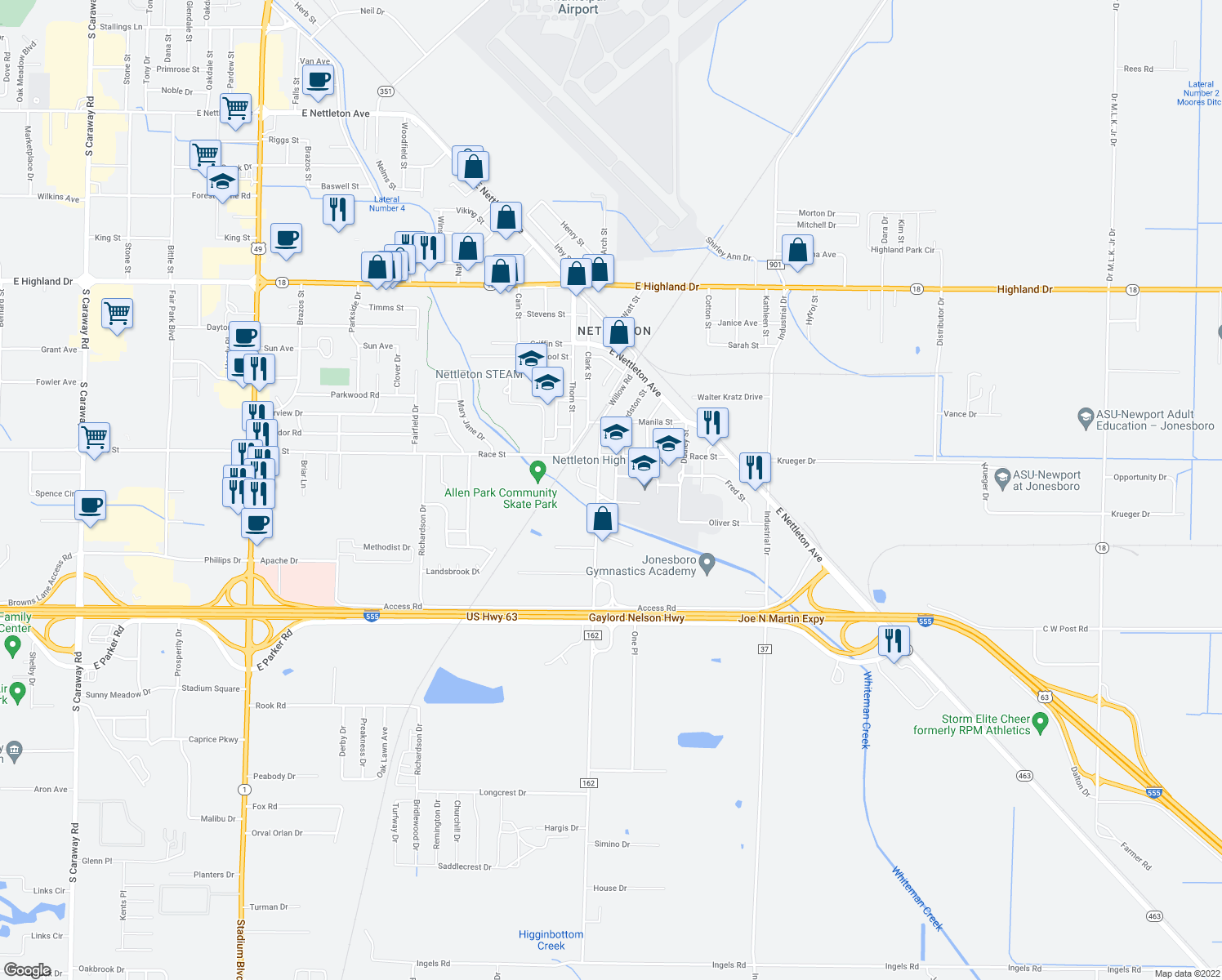 map of restaurants, bars, coffee shops, grocery stores, and more near 2501-2599 Willow Road in Jonesboro