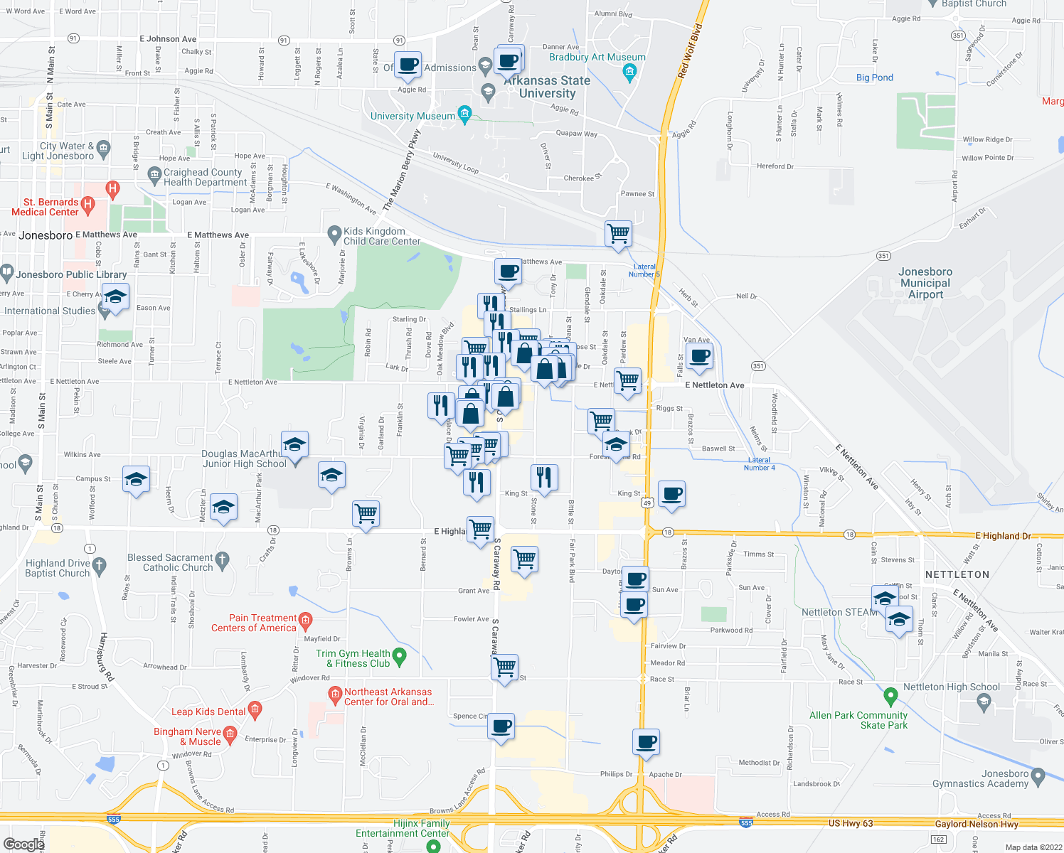 map of restaurants, bars, coffee shops, grocery stores, and more near 1519 Stone Street in Jonesboro