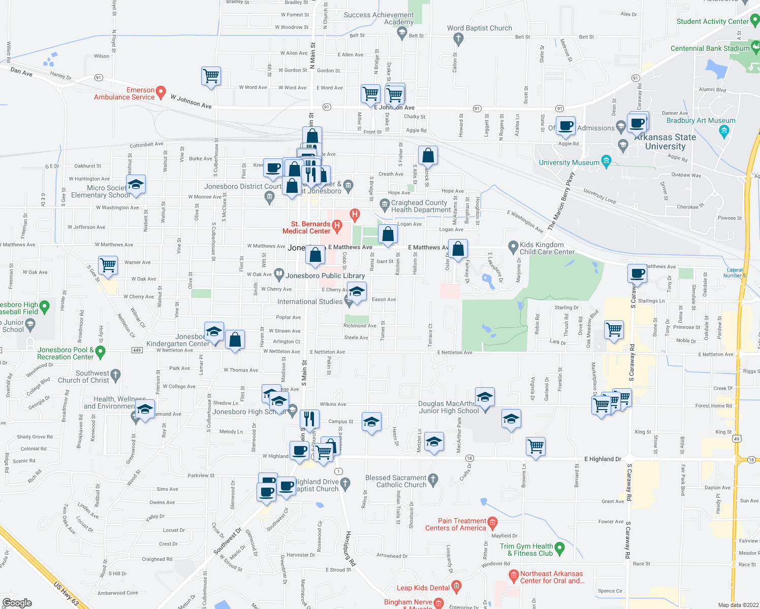 map of restaurants, bars, coffee shops, grocery stores, and more near 1119 Turner Street in Jonesboro