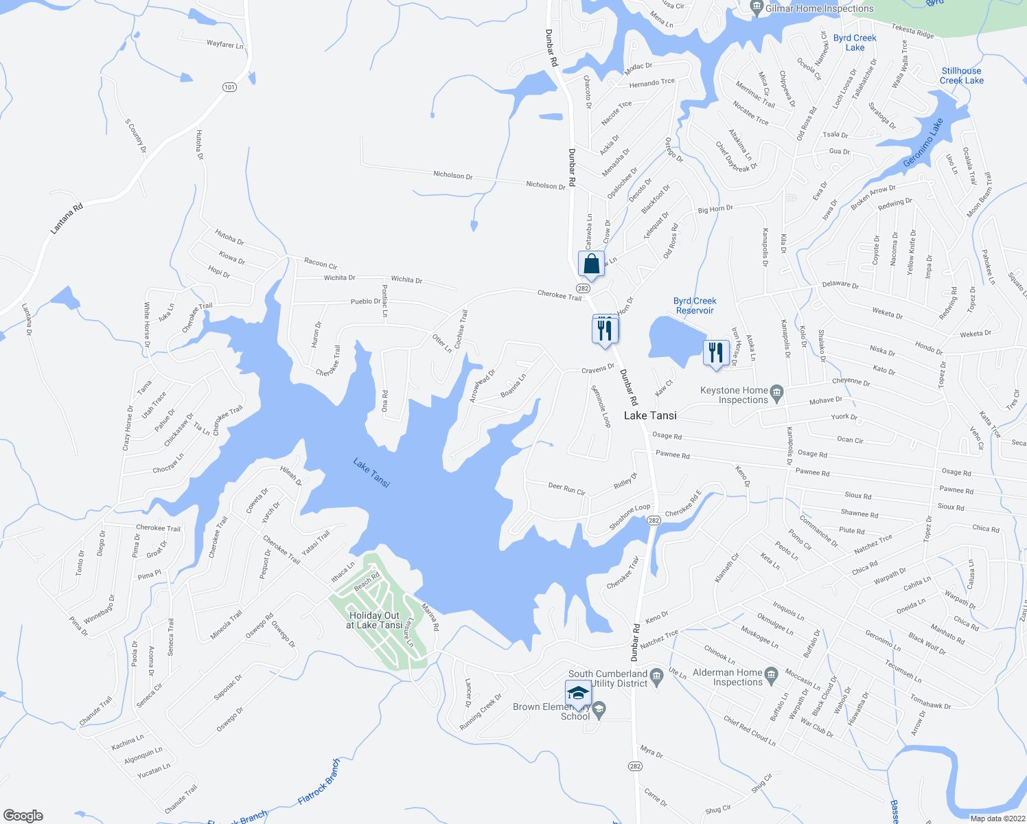 map of restaurants, bars, coffee shops, grocery stores, and more near 1262 Arrowhead Drive in Crossville
