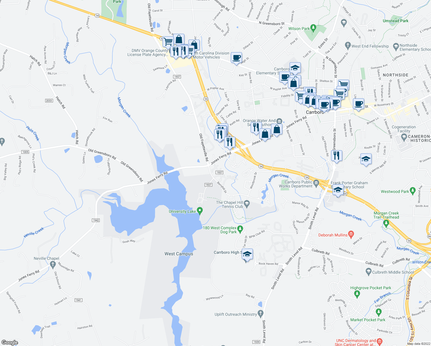 map of restaurants, bars, coffee shops, grocery stores, and more near 605 Jones Ferry Road in Carrboro