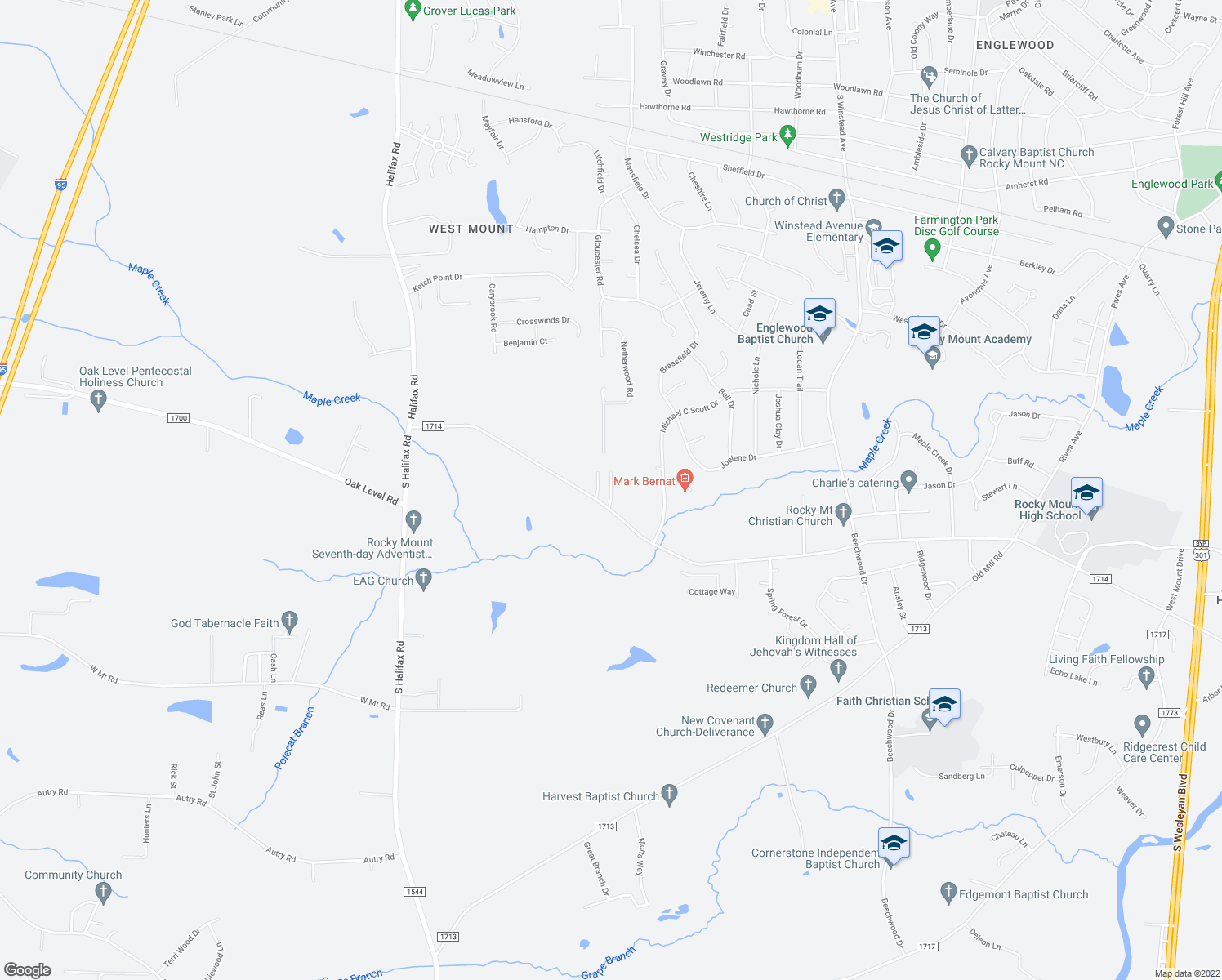 map of restaurants, bars, coffee shops, grocery stores, and more near 101-199 Moye Court in Rocky Mount