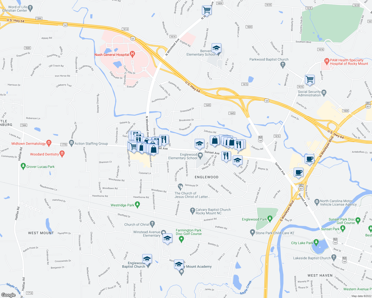 map of restaurants, bars, coffee shops, grocery stores, and more near 3208 Sunset Avenue in Rocky Mount
