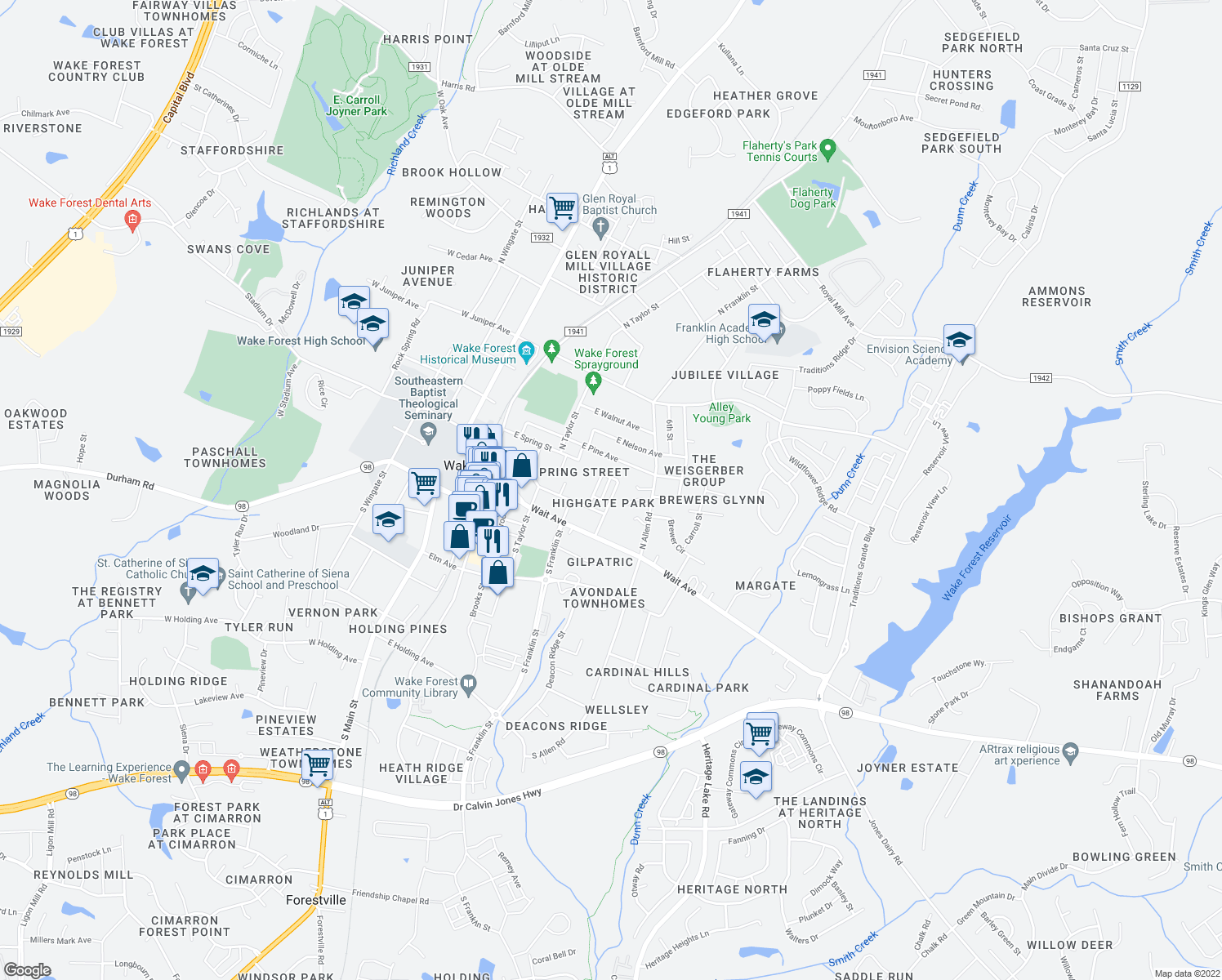 map of restaurants, bars, coffee shops, grocery stores, and more near 222 Highgate Circle in Wake Forest
