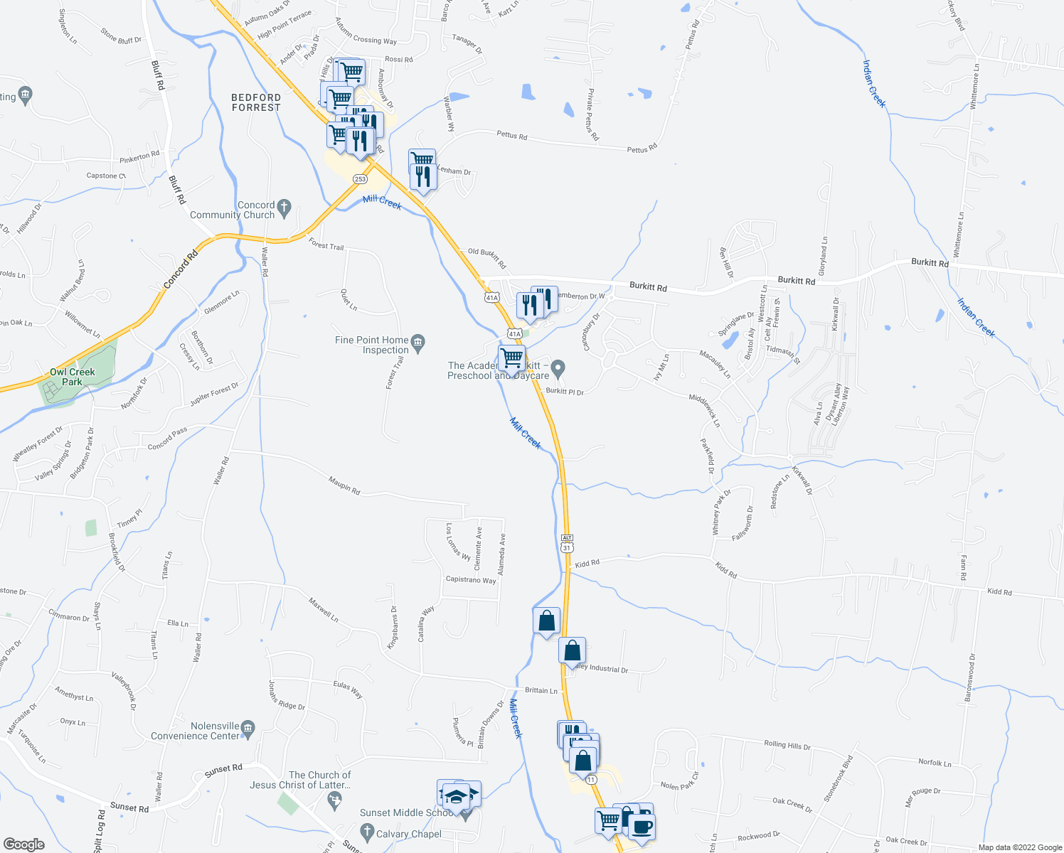 map of restaurants, bars, coffee shops, grocery stores, and more near 7053 Nolensville Road in Brentwood