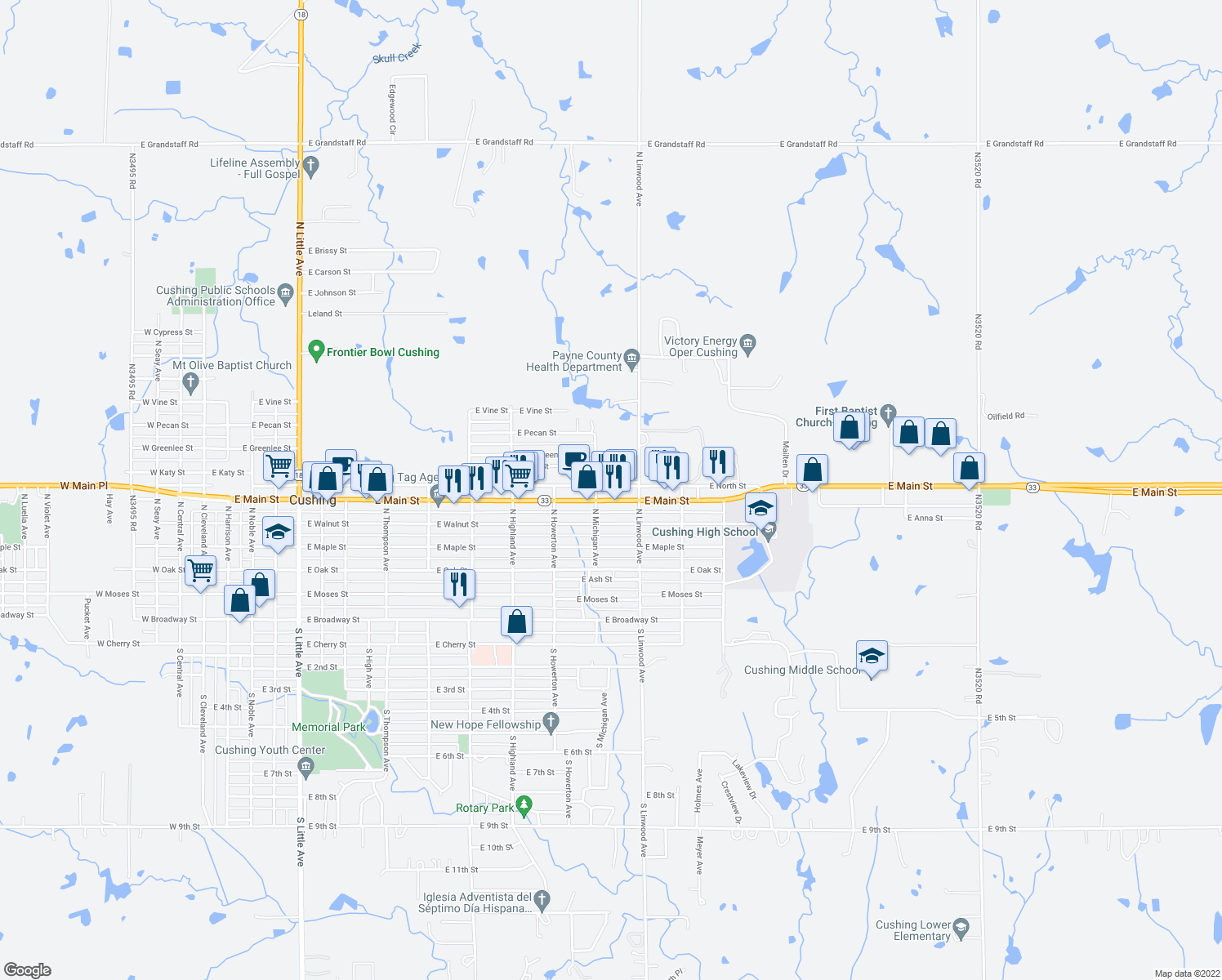 map of restaurants, bars, coffee shops, grocery stores, and more near 1310 E Main St in Cushing
