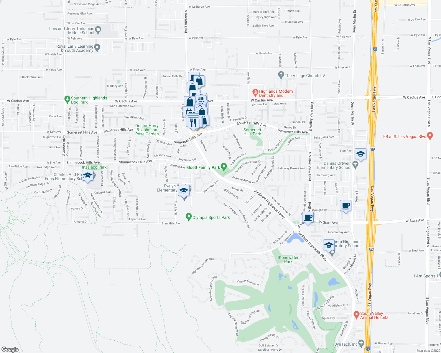 map of restaurants, bars, coffee shops, grocery stores, and more near Southern Highlands Pkwy & Starr
